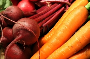 A wonderful meal coming on--carrots and beets
