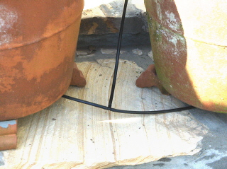 a drip watering tube is installed for each flower pot