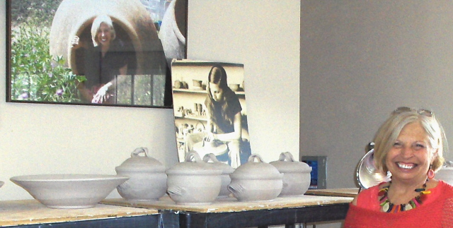 Julie Windler, The Riverside Potter. Look closely and you will see a picture of her from sometime back. (Woodstock days?)
