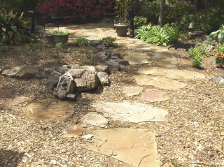 A flagstone sitting area for meditation