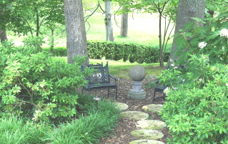 A place to sit and think while enjoying the azaleas and oak leaf hydrangeas