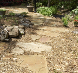 Wood chip mulch gives definition and erosion control around stepping stones.