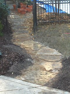 flagstone stepping stones with pea gravel