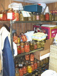 I couldn't believe the racks of preserved vegetables and fruits.