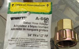 1/2 inch female pipe thread by 3/4 swivel hose adaptor
