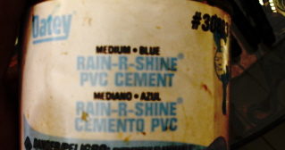 There are many kinds of pvc cement.  I like Rain r Shine blue glue