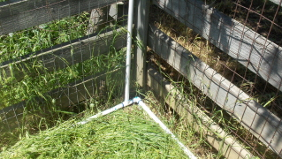 Pvc pipe showing corner and irrigation riser for vegetable garden