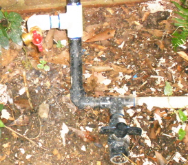 hook up detail. Note the ball valve for draining pipes in winter