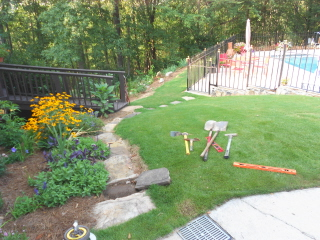 Rock garden steps with a retaining wall--part one (1/6)