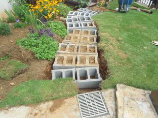 concrete block framework for stone steps