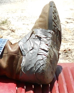 get more mileage outa them boots with duct tape
