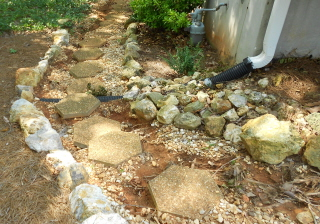 washed out stepping stones need fixing. First find out where the water comes from