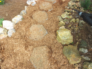 Cypress mulch used to fill in between the steppingg stones and the rock border