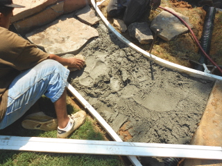 Starting a stone walkway to the pool deck