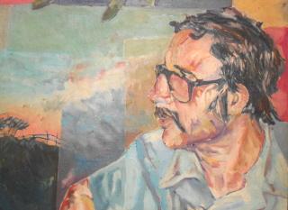 The Storyteller, John Schulz in earlier days. A portrait by Tom Schulz, Artist