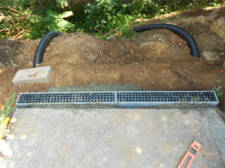 Re direct the water with a catch basin and drain pipe