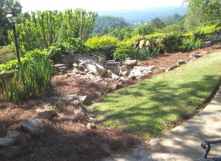 flower beds with pine straw ready to plant