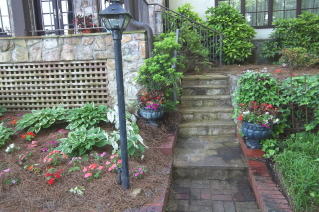 stone steps to patio