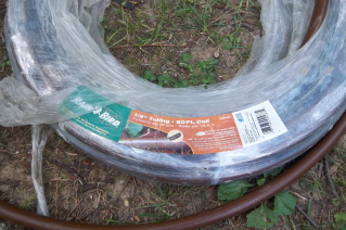 A roll of drip irrigation tubing
