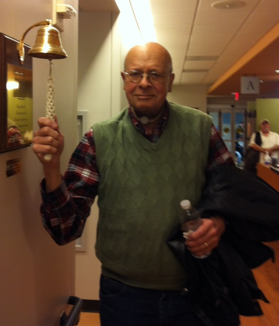 ringing the bell at the end of my seven chemo sessions at Emory Winship Cancer Center, Atlanta