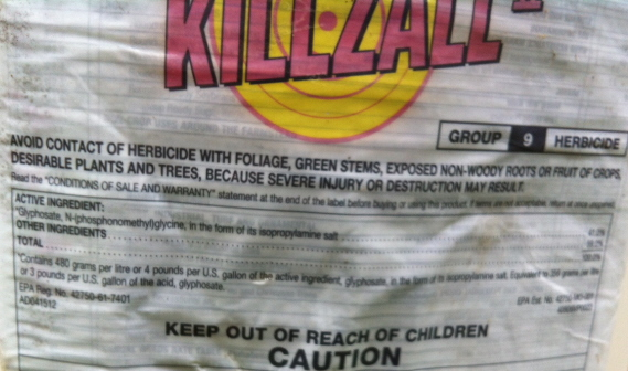 label for glyphosphate--a widely used weed killer