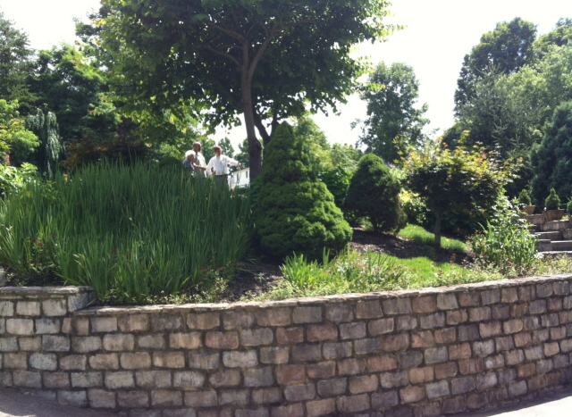 A careful planting of different textures and sizes suggests a river bank