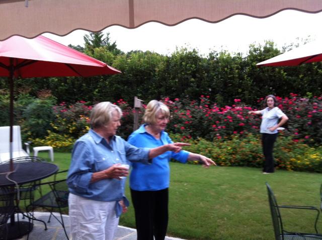 Dekie, Helen, and Ginger discuss remarkable parts of the garden