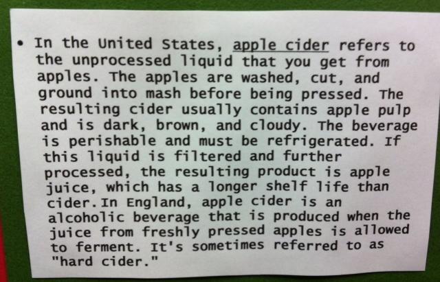 information about apple cider