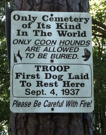 Sign for Coon Hound Cemetery