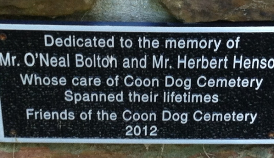 Dedication plaque from the Friends of the Coon Dog Cemetery