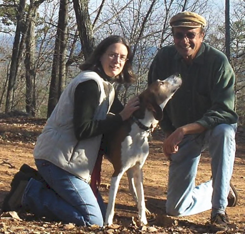 John and Dekie with Speck the coon hound