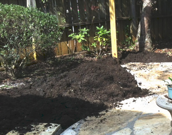 We add a mound of good black compost. It is ready to be raked out, covered with cypress chips, and planted.