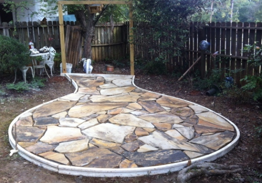 flagstone patio almost completed project