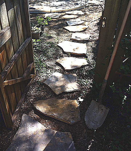 Stepping stones laid out just right for a lady to walk on
