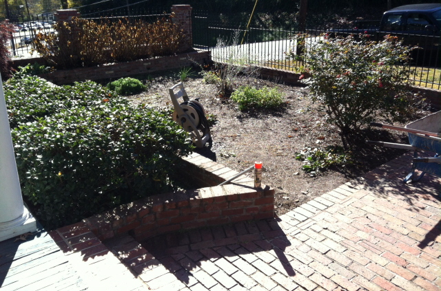 Before--D'Ann wanted a rose and perennial flower bed but the project needed definition