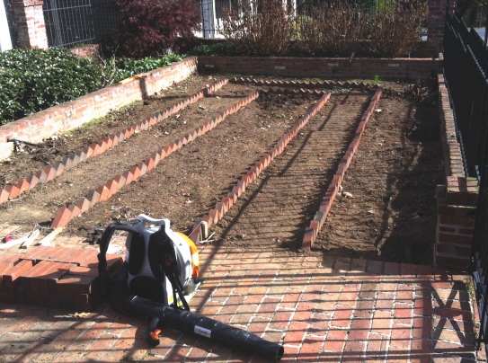 Bricks laid carefully for garden border