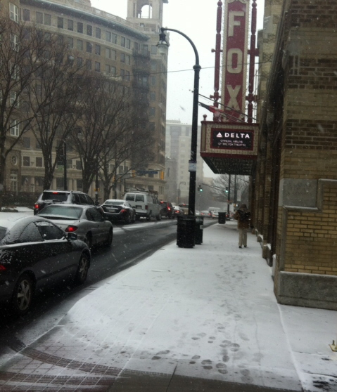 January 28, 12:45 p.m. Snow starting, traffic increases. Trouble is brewing