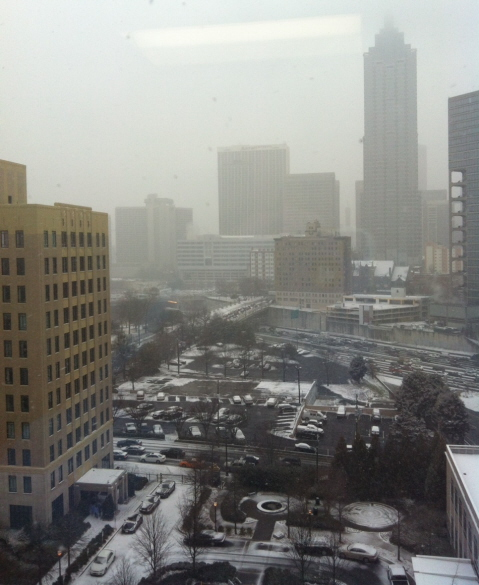 Watching the snow and traffic from 9th floor, Emory Midtown. Jan. 28, 1:30 p.m.