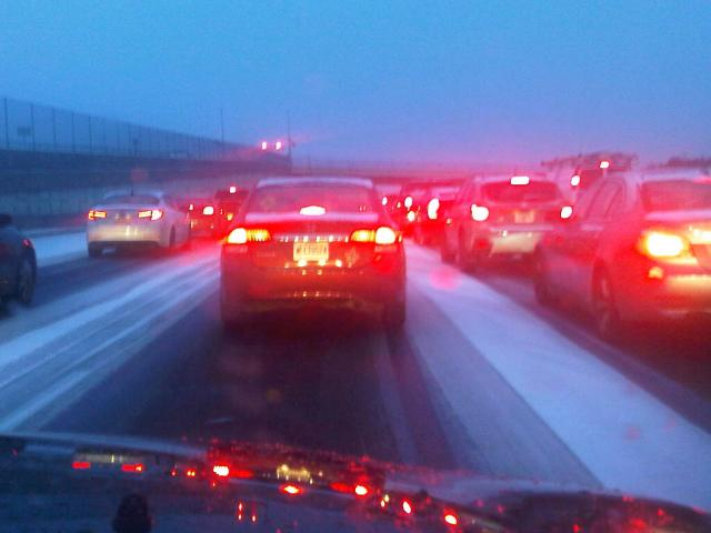 Tail lights as far as we could see. Interstate 75 N.  in Atlanta. January 28, 5:00 p.m.