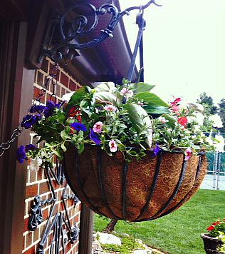 Use coconut matting to line a wire hanging basket for mixed flowers. Read on
