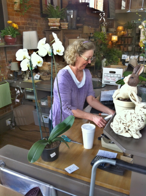 Lisa Landry working on some unknown creation at Living and Giving