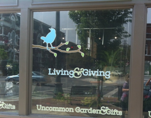 A beautiful logo and window dressing by designer Monica Sheppard