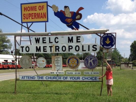 Entering Metropolis, the home of Superman