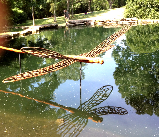 giant dragonfly over a lake