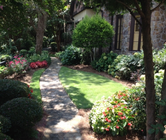 A shady garden pathway