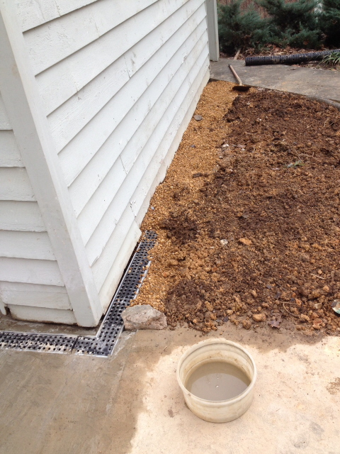 drainage pipe covered with pea gravel for a good transition. perforated pipe is used at sidewalk