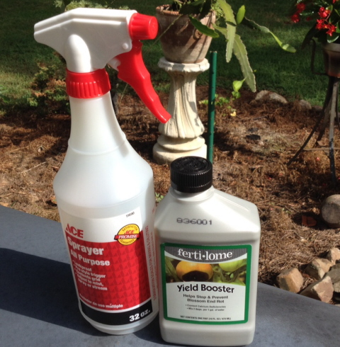 You will need a spray apparatus and a bottle of blossom end rot treatment, the active ingredient is calcium